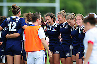 The France team celebrate after the match. FISU World University Championship Rugby Sevens Women's Cup Final between France and Canada on July 9, 2016 at the Swansea University International Sports Village in Swansea, Wales. Photo by: Patrick Khachfe / Onside Images