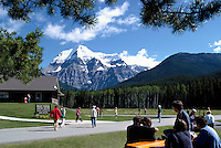 Mt Robson (3,954 m / 12,972 ft), Mount Robson Provincial Park, Canadian Rockies, Thompson Okanagan Region, BC, British Columbia, Canada - Tourists visiting and sightseeing at Visitor Center / Centre, Summer