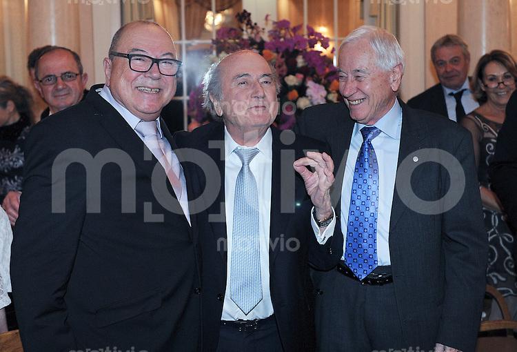Zuerich, 10.03.2016 Ex-FIFA-Praesident Joseph Sepp Blatter (Mitte) feiert seinen 80. Geburtstag mit seinen Bruedern Marco (li) und Peter (re)
