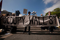 Members of Occupy Wall Street movement take part during the May day celebration in New York May 1, 2012.  Photo by Kena Betancur / VIEWpress..