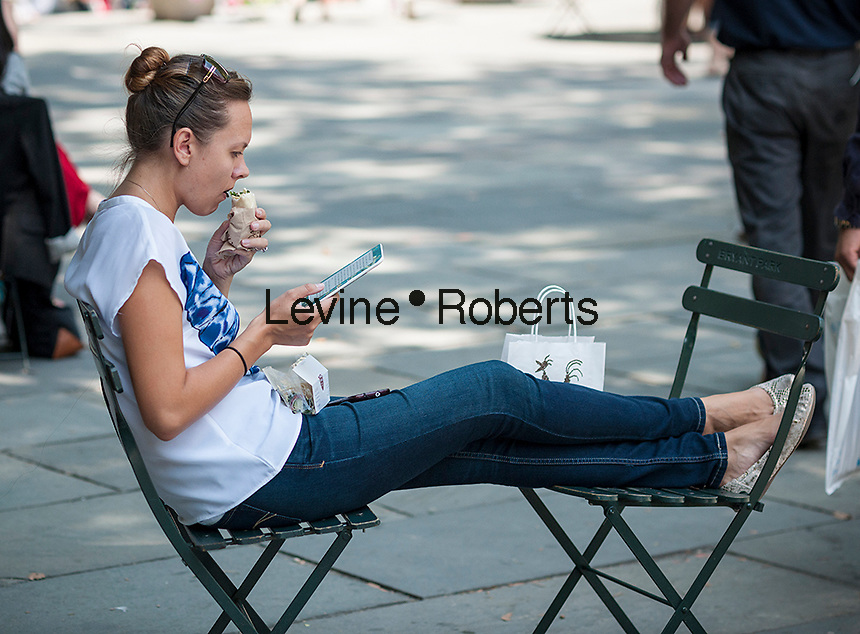 A woman reads using an ereader in Bryant Park in New York on Friday, July 18, 2014.    (© Richard B. Levine)