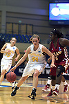 23 MAR 2012: Kari Daugherty (44) of Ashland drives to the hoop while Aslea Williams (5) of Shaw moves in to block her during the Division II Womens Basketball Championship held at Bill Greehey Arena in San Antonio, TX.  Shaw University defeated Ashland University 88-82 for the national title.  Rodolfo Gonzalez/ NCAA Photos