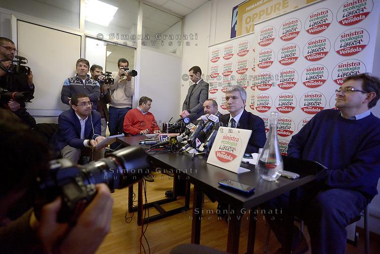 Roma, 3 Gennaio 2013.Sede di Sel, conferenza stampa del Presidente di Sinistra Ecologia e Libertà Nichi Vendola