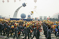 Beijing, China. October 1st, 1984. This huge parade is for the celebration of the 35th Anniversary of the Chinesse Revolution. Many huge floats dedicated to Space, Aviation, and Exploration.