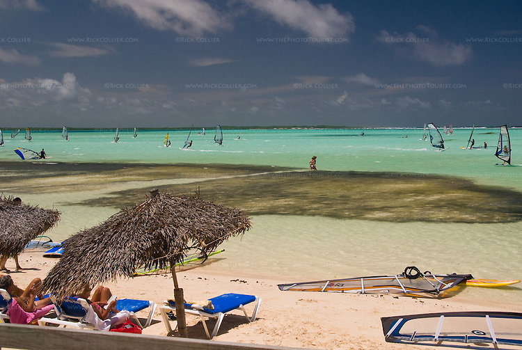 """Bonaire, Netherland Antilles -- """"Jibe City"""" has established itself as a premier beach and windsurfing destination, in a large inlet that is exposed to the wind but protected from the open sea on the windward side of Bonaire."""