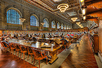 The Rose Main Reading Room in the main branch of the New York Public Library on 5th Avenue and 42nd Street in New York City.