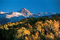 Colorado,  Mount Sneffels  (14,017 feet), Sneffels Mountain Range , Sneffels WIlderness, Part of the San Juan Mountain Range, Fall Aspen, San Juan Skyway Scenic Byway, Uncompahgre National Forest