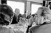 With the aid of an interpreter, at left, United States President Gerald R. Ford and Union of Soviet Socialist Republics (U.S.S.R.) General Secretary Leonid Brezhnev begin their private talks on the train after the President's arrival in Vladivostok, U.S.S.R. on November 23, 1974.  Next to Ford is the United States Ambassador to the U.S.S.R. Walter Stoessel.  During these initial talks, many subjects were discussed and the two leaders were able to acquaint themselves with one another.  Later meetings in the two-day visit concerned the Strategic Arms Limitation Talks (S.A.L.T.).<br /> Mandatory Credit: David Hume Kennerly / White House via CNP