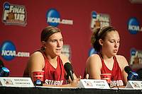 INDIANAPOLIS, IN - APRIL 2, 2011: Jeanette Pohlen answers questions during a press conference at the NCAA Final Four in Indianapolis, IN on April 1, 2011.