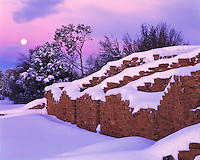Moonset at Far View Ruin, Mesa Verde National Park, Colorado   After heavy winter snow  Ancient Ancestral Puebloan mesa top dwelling
