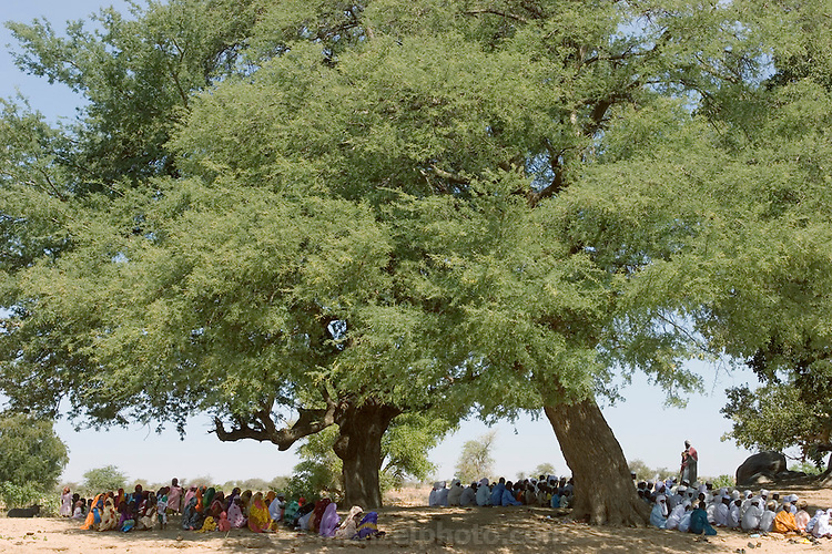 Gathering in the shade of several large trees at the edge of a wadi in Eastern Chad, a group of Muslim worshipers gather to listen to an imam during the last few days of Ramadan near their village. (Supporting image from the project Hungry Planet: What the World Eats.)