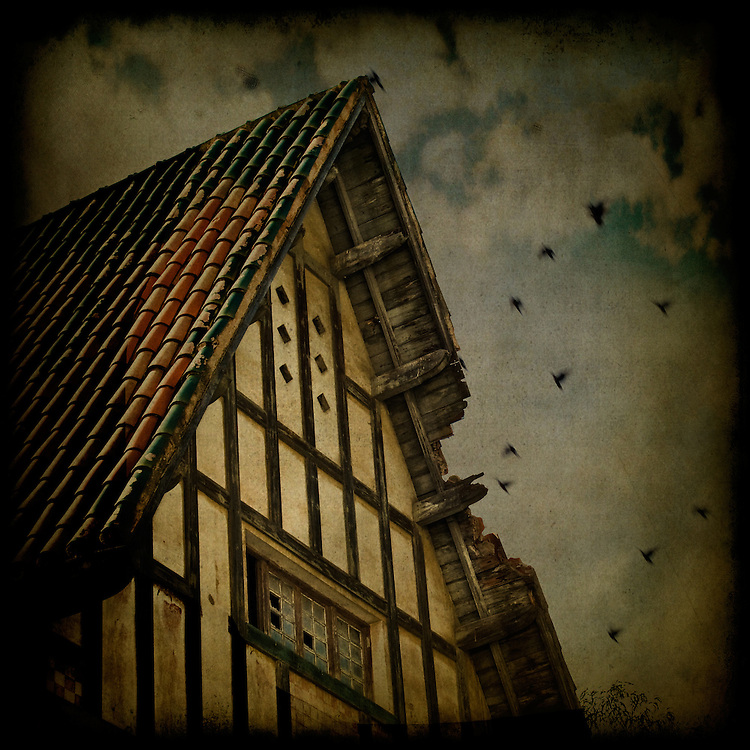 An old house with a broken roof and flying birds