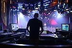 "The ""Light Jockey"" controls the complicated light show that plays over the dance floor at Dorian Gray nightclub on Marlene-Dietrich-Platz at Potsdammer Platz in Berlin, Germany"