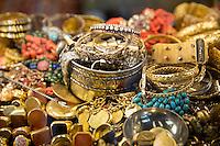 Gold jewelry rings bracelets bangles beads in The Grand Bazaar, Kapalicarsi, great market,  Beyazi, Istanbul, Turkey