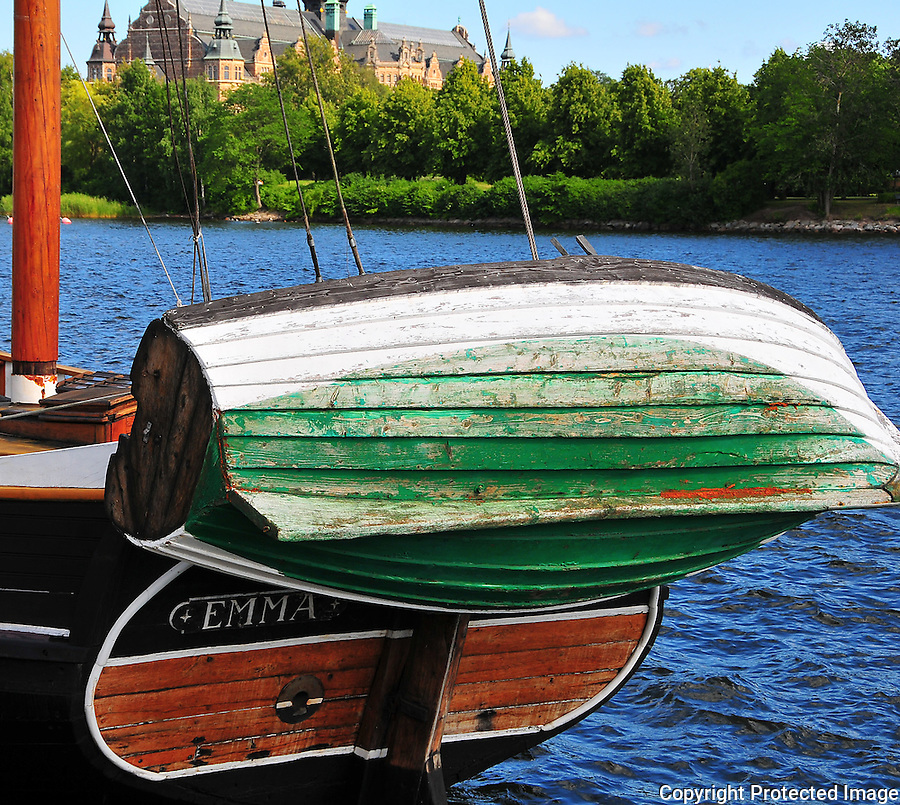 Swedish Sailboat, Stockholm, Sweden, Wooden Sailboat, Wooden Dingy, Summer in Stockholm<br />