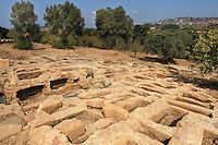General view of Paleochristian Necropolis, Agrigento, Sicily, Italy,  pictured on September 11, 2009, in the morning. To the North of the Temple of Concord there is a Paleochristian Byzantine Necropolis, a huge graveyard of open-air tombs. The Valley of the Temples is a UNESCO World Heritage Site. Picture by Manuel Cohen.