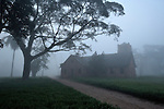 The United Methodist Church on a foggy morning in the Congolese village of Wembo Nyama.