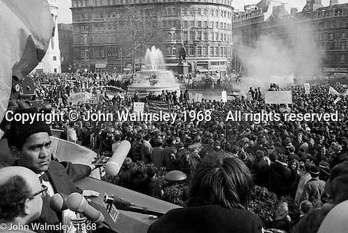 Anti-Vietnam war demonstration march from Trafalgar Sq to Grosvenor Sq Sunday 17th March 1968.