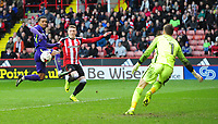 Sheffield United's Caolan Lavery is tackled by Charlton Athletic's Nathan Byrne<br /> <br /> Photographer Chris Vaughan/CameraSport<br /> <br /> The EFL Sky Bet League One - Sheffield United v Charlton Athletic - Saturday 18th March 2017 - Bramall Lane - Sheffield<br /> <br /> World Copyright &copy; 2017 CameraSport. All rights reserved. 43 Linden Ave. Countesthorpe. Leicester. England. LE8 5PG - Tel: +44 (0) 116 277 4147 - admin@camerasport.com - www.camerasport.com