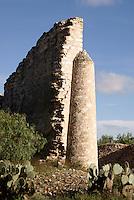 Ruined wall of a building at the 19th century Mina Santa Brigida mine, Mineral de Pozos, Guanajuato, Mexico