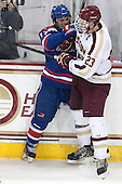 Chris Maniccia (UML - 17), Patrick Brown (BC - 23) - The Boston College Eagles defeated the visiting University of Massachusetts Lowell River Hawks 3-0 on Friday, February 21, 2014, at Kelley Rink in Conte Forum in Chestnut Hill, Massachusetts.