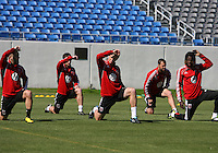 Branden Barklage#24, Blake Brettechneider#29 and Joseph Ngwenya#11 of D.C. United during a training session in Hapgood Stadium on the campus of the Citadel,on March 11 2011, in Charleston, South Carolina