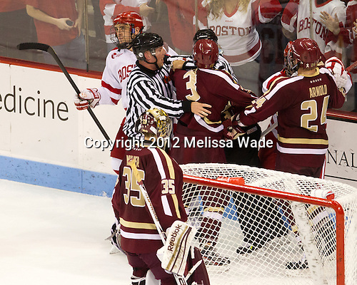 Johnny Gaudreau (BC - 13), Brendan Kelleher, Patch Alber (BC - 3), Cason Hohmann (BU - 7), Bill Arnold (BC - 24) - The visiting Boston College Eagles defeated the Boston University Terriers 4-2 (EN) on Sunday, November 11, 2012, at Agganis Arena in Boston, Massachusetts.