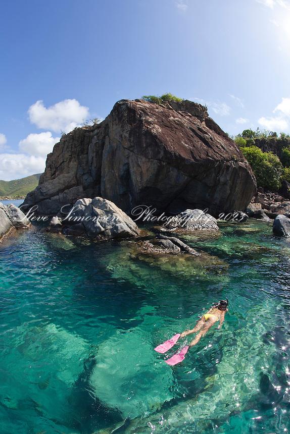 Snorkeler at the point of Great Lameshure Bay, Virgin Islands National Park<br /> St. John<br /> U.S. Virgin Islands
