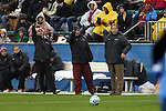 08 December 2013: Florida State head coach Mark Krikorian (right). The Florida State University Seminoles played the University of California Los Angeles Bruins at WakeMed Stadium in Cary, North Carolina in a 2013 NCAA Division I Women's College Cup championship game. UCLA won the game 1-0 in overtime.