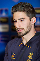 LIVERPOOL, ENGLAND - Wednesday, October 3, 2012: Liverpool's Fabio Borini during a press conference at Anfield ahead of the UEFA Europa League Group A match against Udinese Calcio. (Pic by David Rawcliffe/Propaganda)