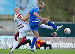 Hamilton Accies v St Johnstone..23.10.10  .Sam Parkin is tackled by Simon Mensing.Picture by Graeme Hart..Copyright Perthshire Picture Agency.Tel: 01738 623350  Mobile: 07990 594431