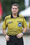 19 August 2014: Referee Mark Kadlecik. The Duke University Blue Devils hosted the Radford University Highlanders at Koskinen Stadium in Durham, NC in a 2014 NCAA Division I Men's Soccer preseason match.