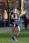23 February 2017: Notre Dame's Sydney Flynn. The Elon University Phoenix hosted the University of Notre Dame Fighting Irish at Rudd Field in Elon, North Carolina in a 2017 Division I College Women's Lacrosse match. Notre Dame won the game 16-7.