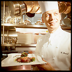 "Chef Guillaume Brard photographed in Cleveland, Ohio, at the InterContinental Hotel's ""Classics,"" now ""Table 49."" Brard is now Executive Chef at ""Nine Beaches"" in Bermuda. Brard earned Classics a AAA Five-Diamond rating."