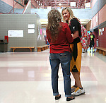 Mrs. Lewis takes a moment to talk to her daughter Madyson in-between classes on Thursday Oct 10, 2013. Madyson is a star-athlete, who plays softball and basketball. <br /> Photo by Coty Giannelli