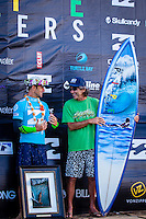 HONOLULU, Oahu, Banzai Pipeline - (Friday, December 14, 2012)  Josh Kerr (AUS) with Gerry Lopez (HAW). -- The Billabong Pipe Masters wrapped up today with the crowning of the 2012 World Title going to Joel Parkinson (AUS) after Josh Kerr (AUS) defeated Kelly Slater (USA) in the second semi final..Photo: joliphotos.com