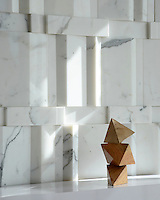 Citta, a stone mosaic, shown in Calacatta polished, by Sara Baldwin for New Ravenna Mosaics.
