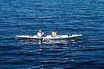 California:  Kayakers and sea otter near Monterey..Photo copyright Lee Foster, 510-549-2202, lee@fostertravel.com, www.fostertravel.com..Photo #: caelkh101