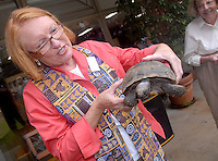 Senior Minister Patricia Farris blesses Jack, a 50 year old  Desert Tortoise at First United Methodist Church of Santa Monica during the &quot;Blessing of the Animals&quot; service on Saturday, October 2, 2010. The annual blessing service takes place in the tradition of Blessed Francis of Assisi, a 12th century saint of the church who lived in Italy. He was known for his kindness to all animals, recognizing and praising them as part of God's creation.