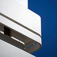 The balcony of a Bauhaus style building at 8 Esther Hamalka Street. Tel Aviv is known as the White City in reference to its collection of 4,000 Bauhaus style buildings, the largest number in any city in the world. In 2003 the Bauhaus neighbourhoods of Tel Aviv were placed on the UNESCO World Heritage List. ..