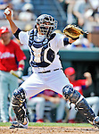 9 March 2012: Detroit Tigers catcher Omir Santos in action during a Spring Training game against the Philadelphia Phillies at Joker Marchant Stadium in Lakeland, Florida. The Phillies defeated the Tigers 7-5 in Grapefruit League action. Mandatory Credit: Ed Wolfstein Photo
