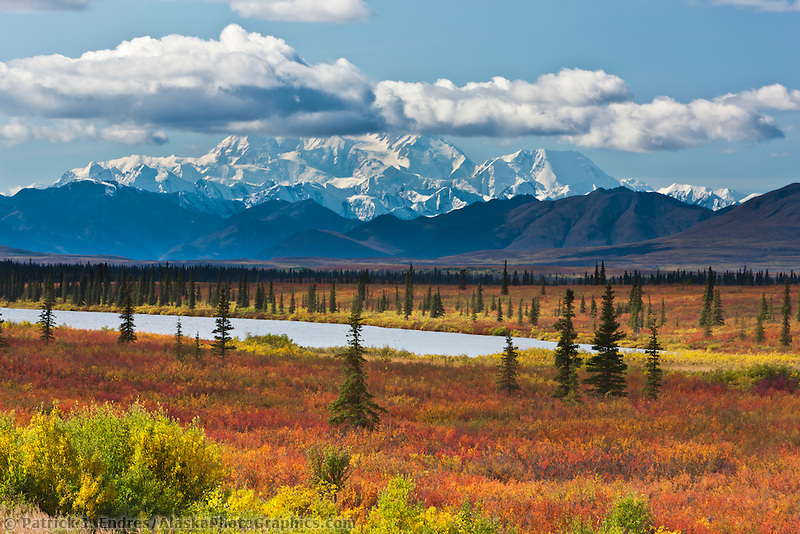 """George Parks Highway near Willow, and a southside view of Mount McKinley """"Denali"""", North America's tallest peak at approximately 20,237 ft. (6,168m),  Alaska."""