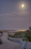 Beach path lighted by moonlight only, Cape Henlopen State Park Delaware, HDR image