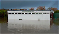 BNPS.co.uk (01202 558833)<br /> Pic: PhilYeomans/BNPS<br /> <br /> Bowling club under water...<br /> <br /> The River Stour at Christchurch, Dorset, broke its banks last night causing the Iford Bridge Home Park to be evacuated as 3 feet of flood water swept through.