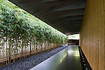 Photo shows the outer corridor leading to the entrance of the Nezu Museum in, Tokyo, Japan on 17 Sept. 2012. The  museum was  first conceptualized by pre-war industrialist Kachiro Nezu, who wanted to find a place to display and store his collection of ancient Asian artworks.  Photographer: Robert Gilhooly