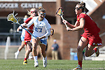 27 February 2016: North Carolina's Aly Messinger (27) and Maryland's Alice Mercer (right). The University of North Carolina Tar Heels hosted the University of Maryland Terrapins in a 2016 NCAA Division I Women's Lacrosse match. Maryland won the game 8-7.