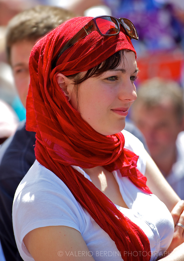 A polish girl in her national colours