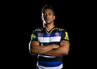 Anthony Watson of Bath Rugby poses for a portrait in the 2015/16 home kit during a Bath Rugby photocall on December 1, 2015 at Farleigh House in Bath, England. Photo by: Patrick Khachfe / Onside Images