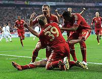 FUSSBALL   CHAMPIONS LEAGUE  HALBFFINAL HINSPIEL   2011/2012      FC Bayern Muenchen -Real Madrid          17.04.2012 Jubel nach dem Tor zum 1:0, Franck Ribery, Bastian Schweinsteiger , Toni Kroos, Jerome Boateng (FC Bayern Muenchen)