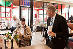 March 26, 2013. Lexington, South Carolina. On his way to meet with a local mayor, Sen. Lindsey Graham stopped by a Chick-fil-A to get some lunch and talk to customers, including Larry Peay, a retired Navy submariner.. Sen. Lindsey Graham, R- South Carolina, is up for reelection in 2014. He spent some time talking to his base back home about issues such as immigration reform as he readies himself for his campaign run..